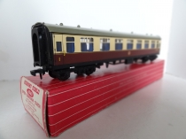 Hornby Dublo 4061 2nd Class Open Corridor Coach - WR - Brown/Cream - 2/3 Rail